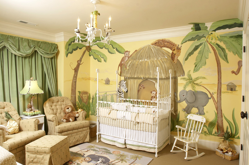 Nursery murals ck paints custom hand painted murals for Baby jungle mural